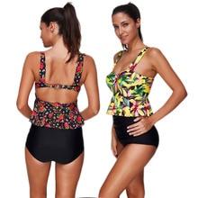 Volants feuille imprimé Bikini femmes 2020 Maios plage intérieur maillot de bain Tankini maillot de bain grande taille maillots de bain taille haute Bikini S-3XL