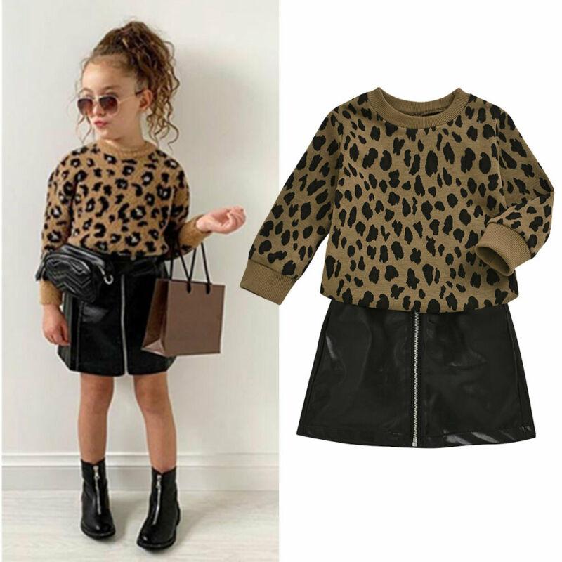 Citgeett, primavera, niño, niña, suéter de leopardo, Tops + Mini falda Cortical, vestido, atuendo, conjunto de moda, ropa