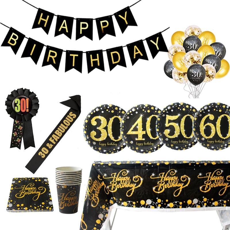 30 ° cumpleaños temática, globo decorativo para adulto, vajilla de papel desechable, guirnalda con letras 40 50 60 años de fiesta