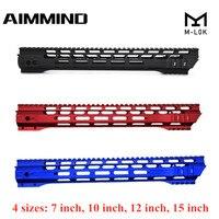 (Черный/красный/синий) 7 10 12 15 дюймов AEG M4 M16 AR15 свободный поплавок M-Lock Quad Rail Handguard Picatinny Rail с цилиндрической гайкой для охоты