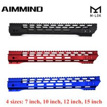 (Schwarz/Rot/Blau) 7 10 12 15 zoll AEG M4 M16 AR15 Freies Float M-Lock Quad Rail Handschutz Picatinny Schiene mit barrel Mutter für Jagd