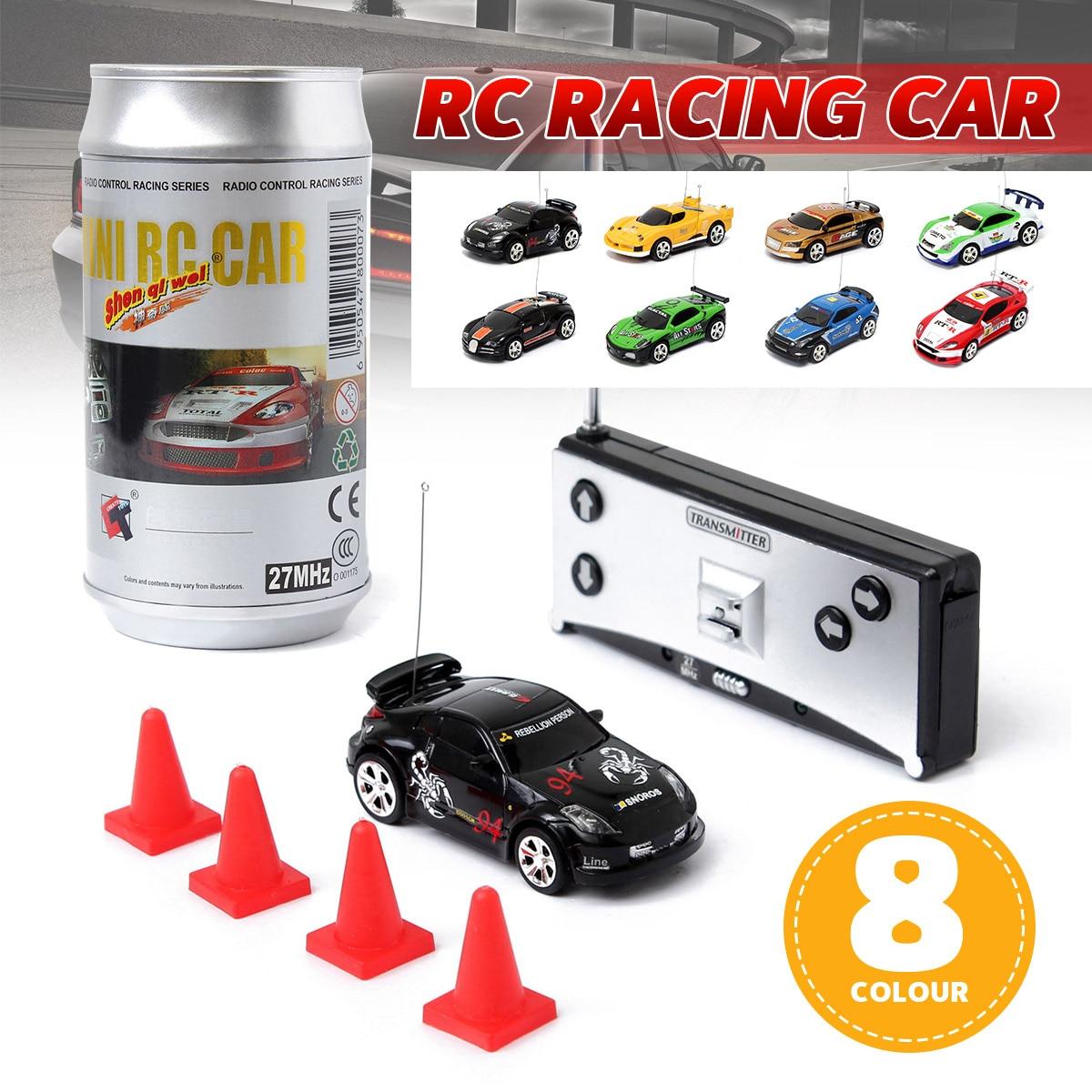 Coke Can Mini RC multicolor coche Radio Control remoto Micro coche de carreras 4 frecuencias para niños regalos