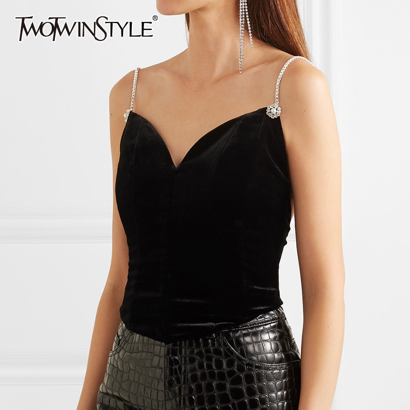 Twotwinstyle preto sem costas colete para as mulheres retalhos diamante camis coletes feminino 2020 outono do vintage moda nova roupa