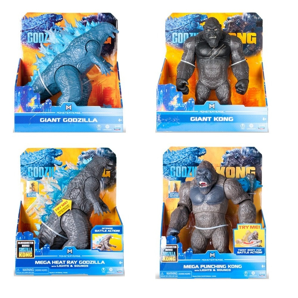 Godzilla Vs Kong 15cm-33cm Film Pvc Action Figure Light Sound Moving Toys Godzilla Gojira King of The Monsters Collectible Doll