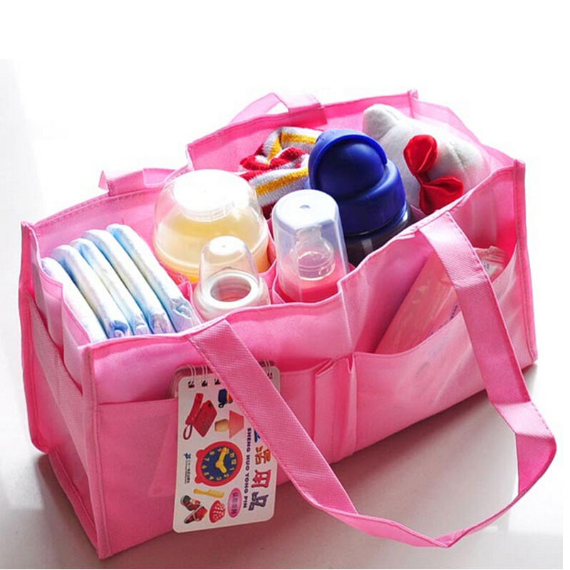 New Hot Portable Multifunction Mummy Hand Bag Baby Bottle Diaper Storage Tote Environmental Non-Woven 7 Separate Bag