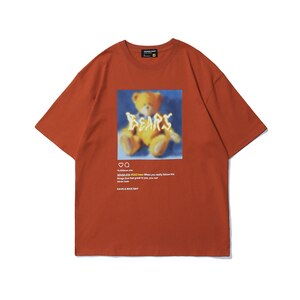 2021 Harajuku T shirts Oversized Summer Men Hip Hop Fashion Cute Bear Letter Print Tshirt Mens Streetwear T-shirts Short Sleeve