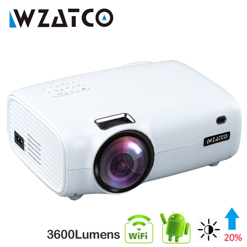 WZATCO-miniproyector LED E600, dispositivo inteligente, portátil, 10,0 con Android, Wifi, Full HD,...