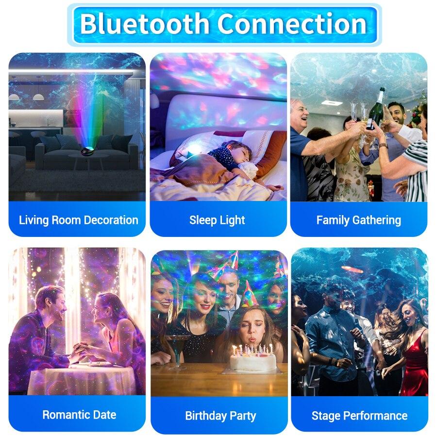 Usb colorido cu estrelado oceano projetor led luz de palco controle remoto oceano onda mpada projeo com msica alto-falante cria