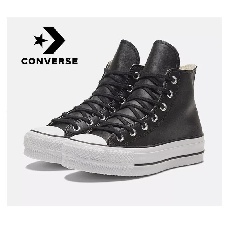 Zapatos de deporte de inverso con plataforma de cuero para mujer de...