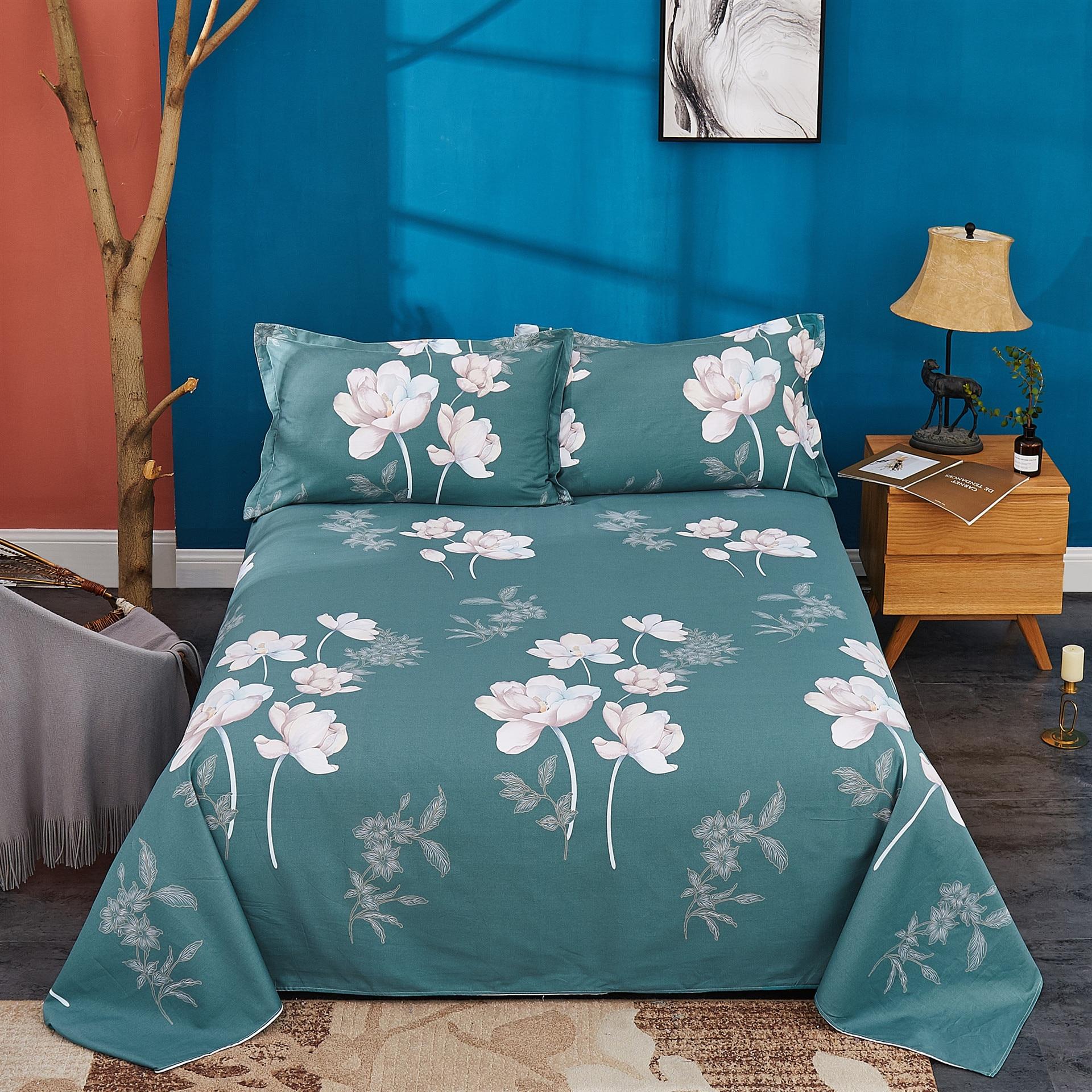 100% sábana de algodón + funda de almohada decoración sábanas de marca Na textil Para el hogar Sábana protectora de cama de diseño floral
