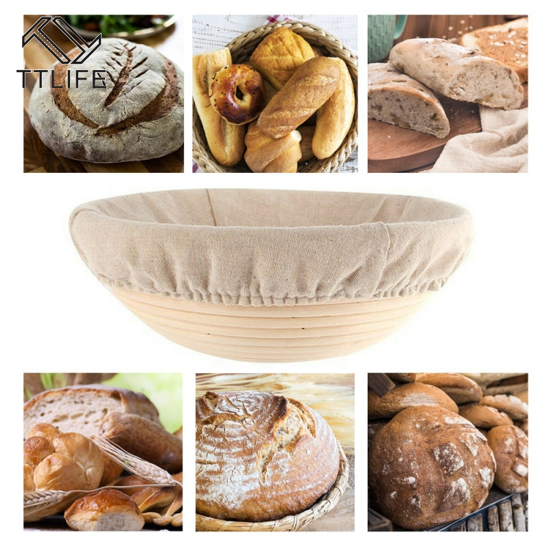 Cesta de mimbre de fermentación de pan caliente TTLIFE, cestas de almacenamiento de masa de barra de pan de campo, cestas de prueba de degustación, suministros de cestas