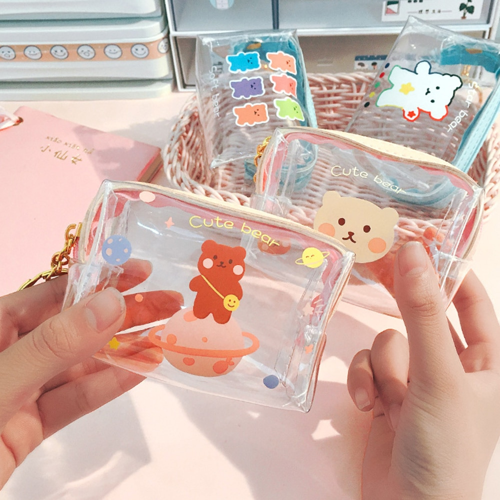 Fashion Pvc Coin Purse Women Transparent Girls Card Wallet Key Holder Storage Bag Girls 2021 New Clear Small Pouch Hand Purses