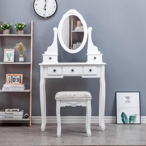Makeup Table Furniture Vanity Table with Drawers Mirrored Dresser Furniture Bedroom Modern Wooden Dressing Table
