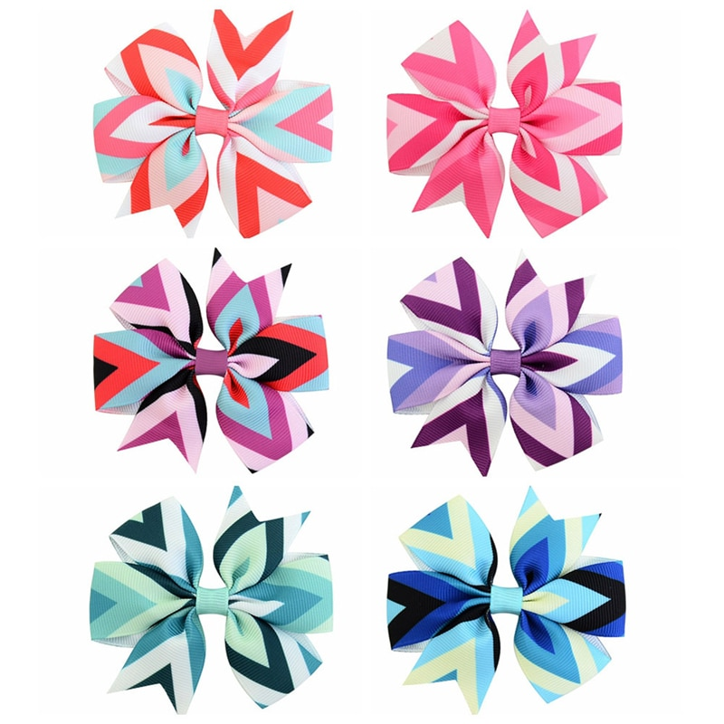 12 Colors New Style Hair Clips Hairpins Wavy Printed Barrettes Fishtail Bowknot  Hairgrips Children Headdress 743