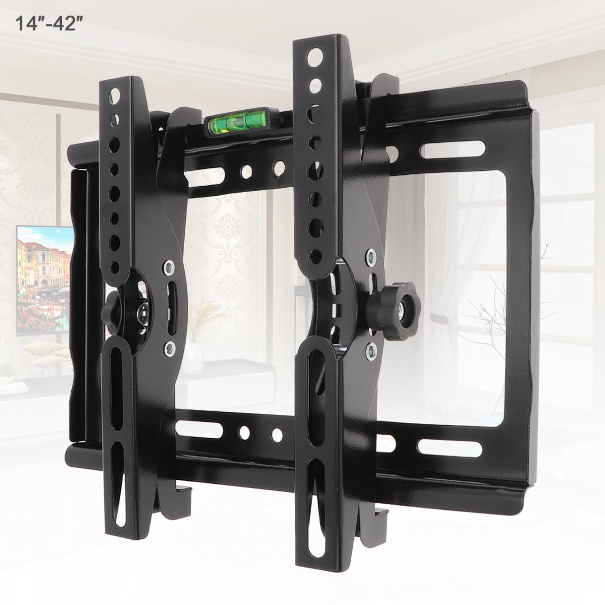 Soportes de pared para TV, soporte de Panel plano, marco de TV, ángulo de inclinación de 15 grados con nivel para LCD LED de 14 - 42 pulgadas, 25KG
