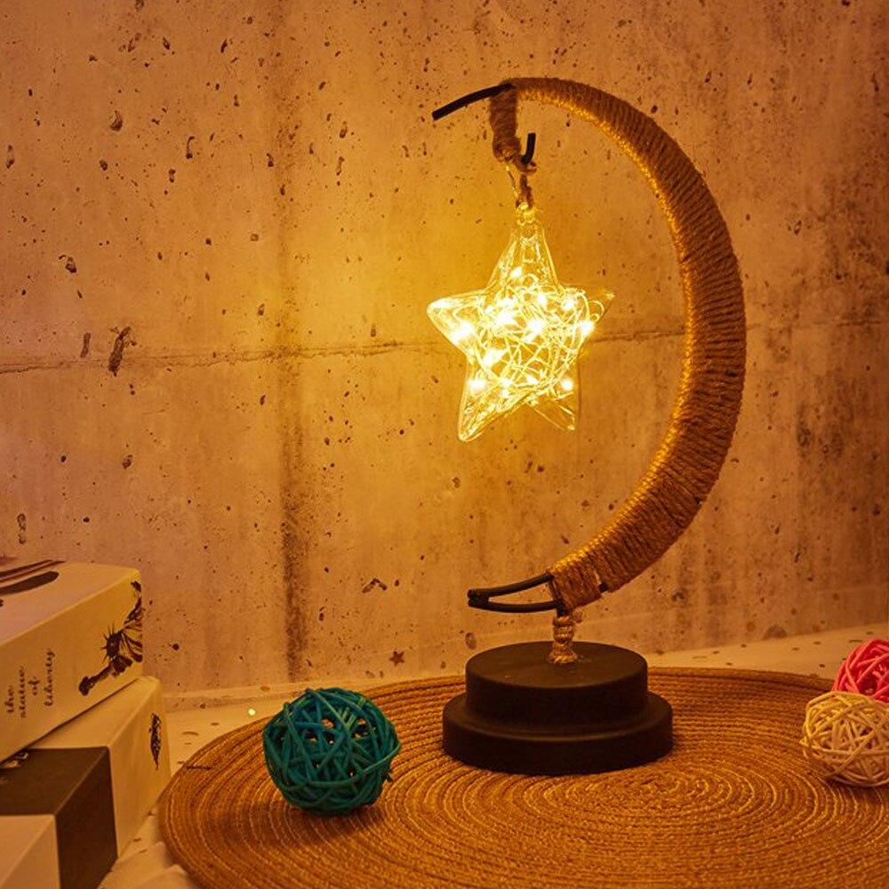 Lámpara Led estrellas Luna Luz de mimbre Luz de bolas Navidad los niños Regalo de Cumpleaños hecha a mano de cuerda de cáñamo USB de hierro forjado de luz de la noche