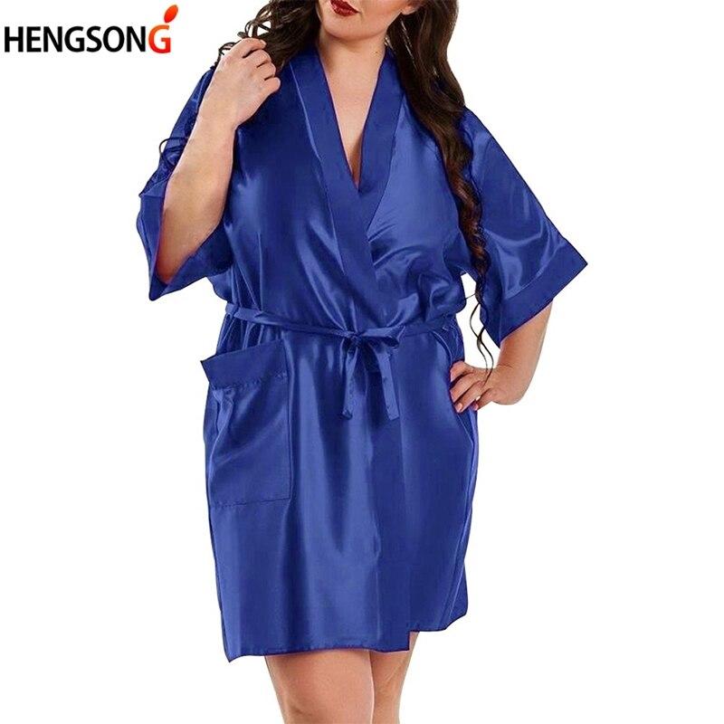 Large Size Sexy Satin Night Robe Bathrobe Silk Cardigan Waist Bandage Multicolor Home Patch Bag Bathrobe women