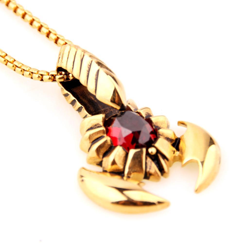 ¡Novedad! Colgante de acero inoxidable con piedras doradas y rojas de escorpiones para hombre y mujer, cadena de eslabones con caja gratis de 24 pulgadas