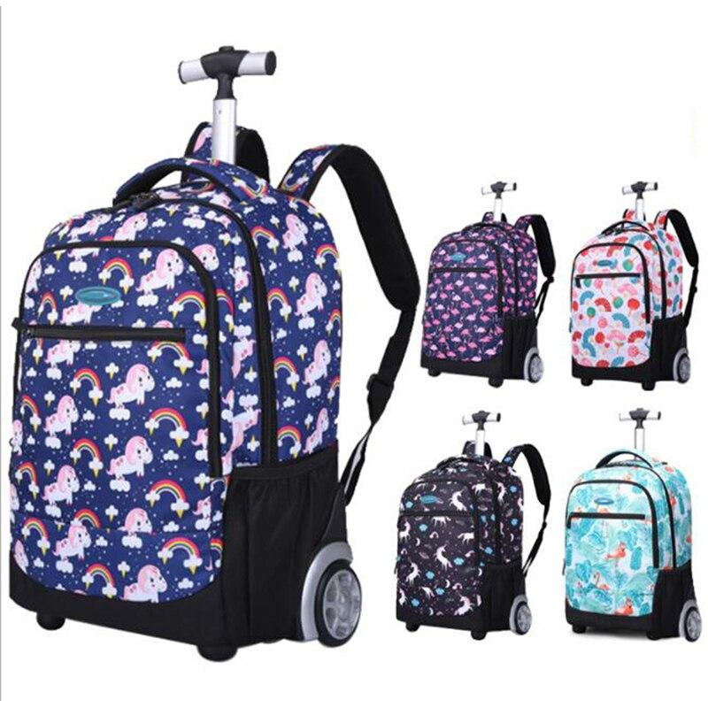 الأطفال على ظهره الاطفال الحقائب المدرسية مع عجلة عربة الأمتعة أنيمي على ظهره حقائب للمراهقين الفتيات حقيبة على عجلة القيادة