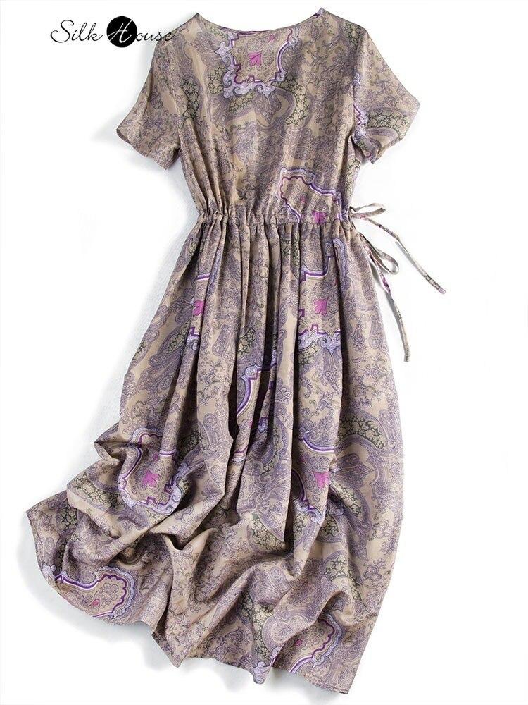 فستان عصري من حرير التوت ، منتج جديد لربيع 2021 ، حرير أرجواني حقيقي ، تصميم قديم ، تنورة مطوية ، للنساء