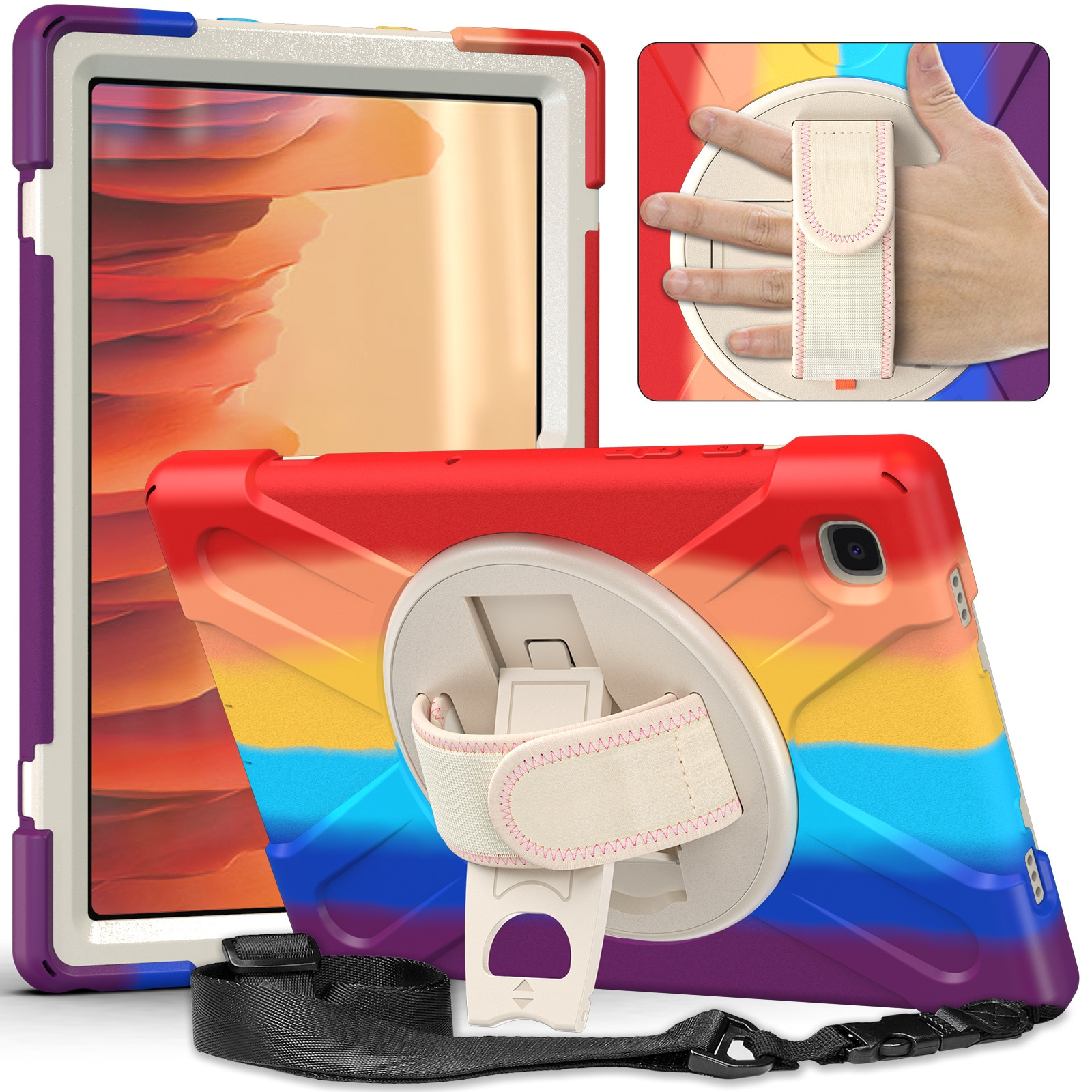 For Samsung Galaxy Tab A7 Case 2020 10.4Inch SM-T500 T505 Kids Drop Protection Case 360 Degrees Rotate Stand Hand Strap For T507