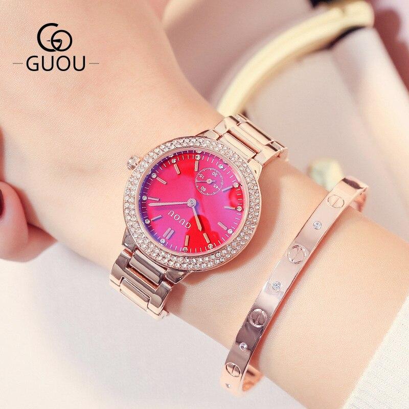 Relógios de Quartzo Super Moda Rosa Ouro Inoxidável Feminino Marca Superior Luxo Relógio Casual Senhoras Pulso Aço