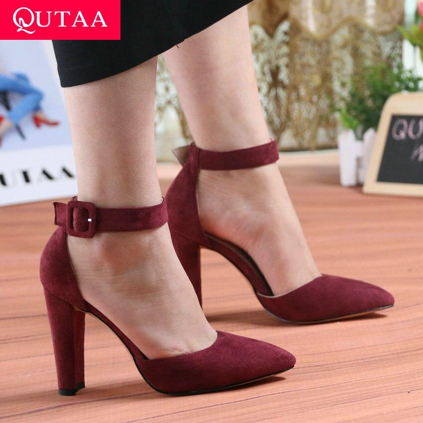 Zapatos QUTAA 2020 para mujer, zapatos a la moda para mujer, zapatos para fiesta, boda, tacón alto súper cuadrado, Punta puntiaguda, zapatos de tacón rojo para mujer, talla 34-43