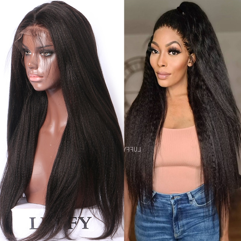 Wavy Full Lace Wigs Human Hair Glueless Yaki Straight Human Hair Wigs with Baby Hair 24inch 180% Density Dark Brown Color 2#