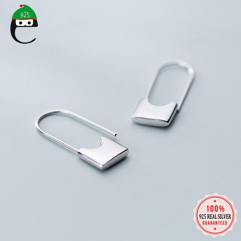 ElfoPlataSi Creative nouveau Design trombone forme oreille boucle boucles doreilles pour fille dame madame femmes 100% 925 bijoux en argent Sterling