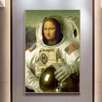 funny mona lisa in a spacesuit canvas painting portrait posters and prints wall art picture for living room home decor cuadros