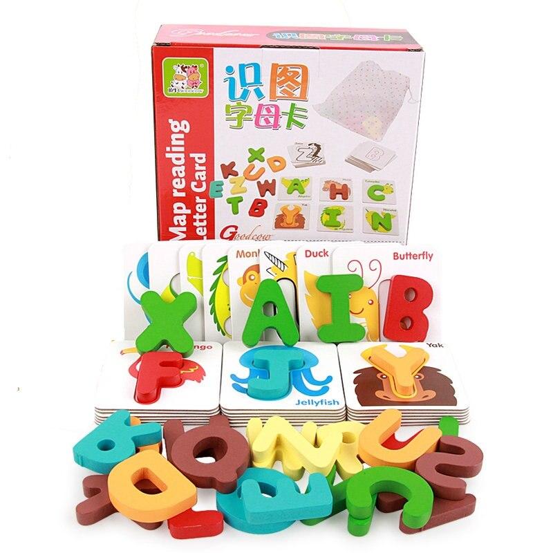 Детская интеллектуальная буква и цифровая карта 3D головоломка познавательная деревянная головоломка для детей Раннее Обучение пособие Мо...