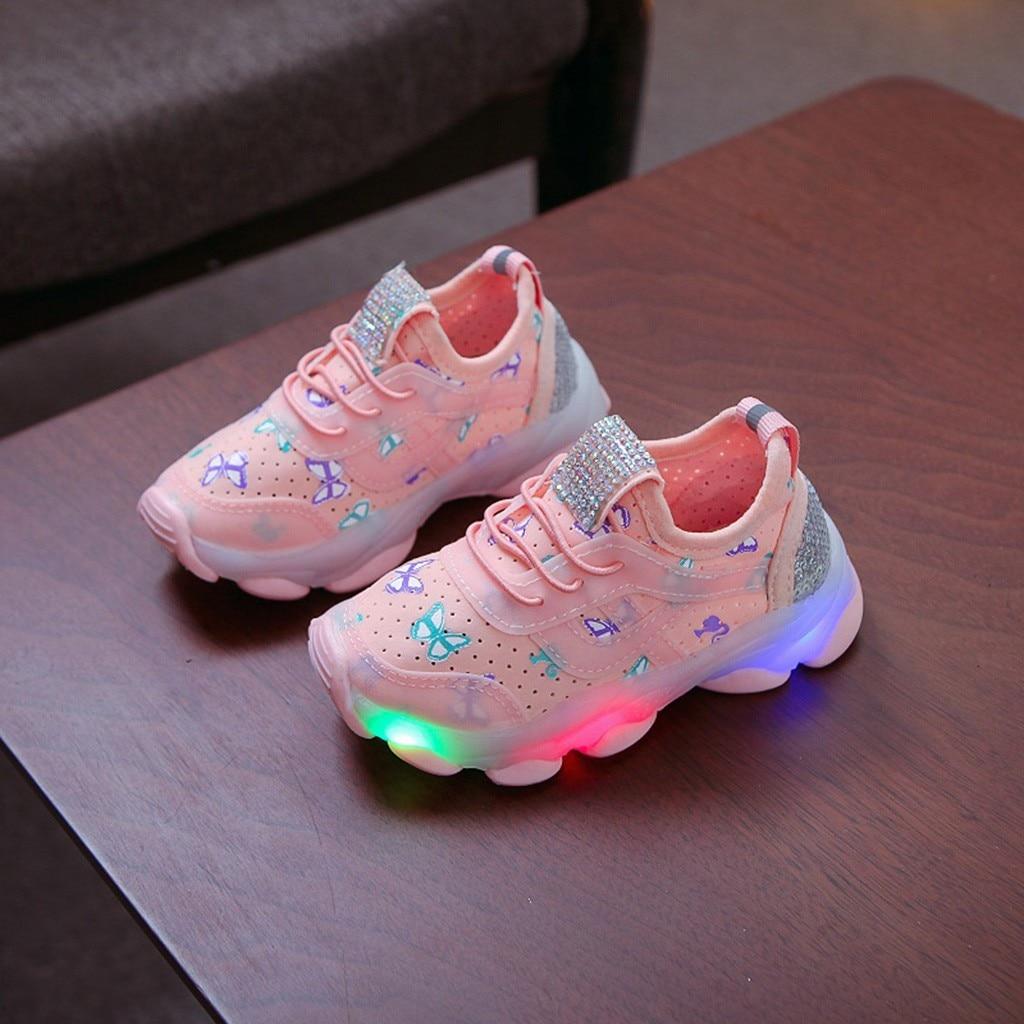 Zapatillas deportivas luminosas Led senakers, zapatos para chico s, zapatillas deportivas transpirables a la moda para niños, Chico, niñas, mariposa