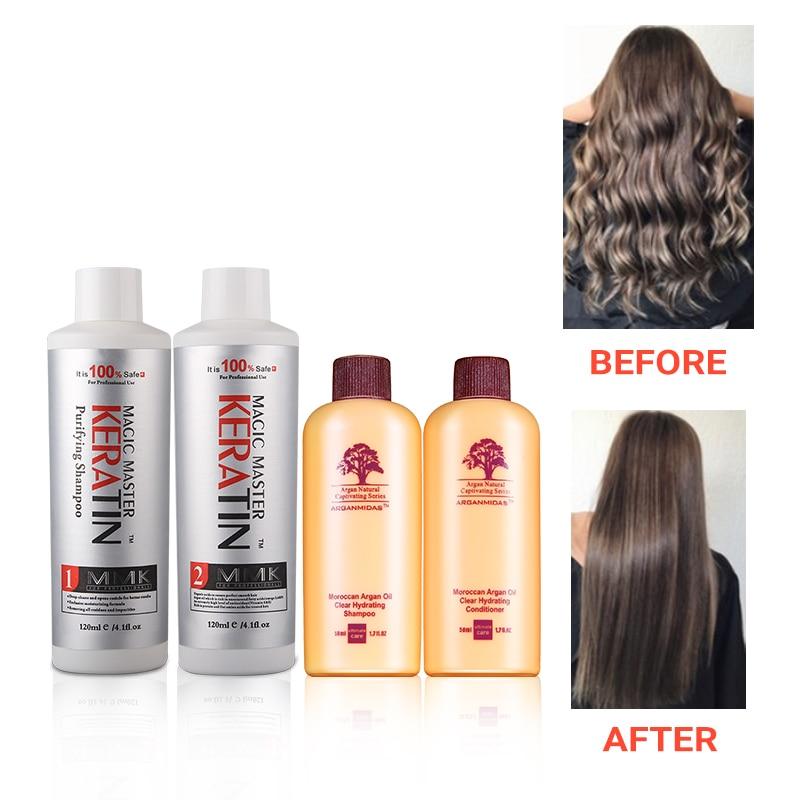 Best Selling Without Formalin Repair Damaged&Straighten Hair 120ml Magic Master Keratin+120ml Purifying Shampoo+Travel Suit