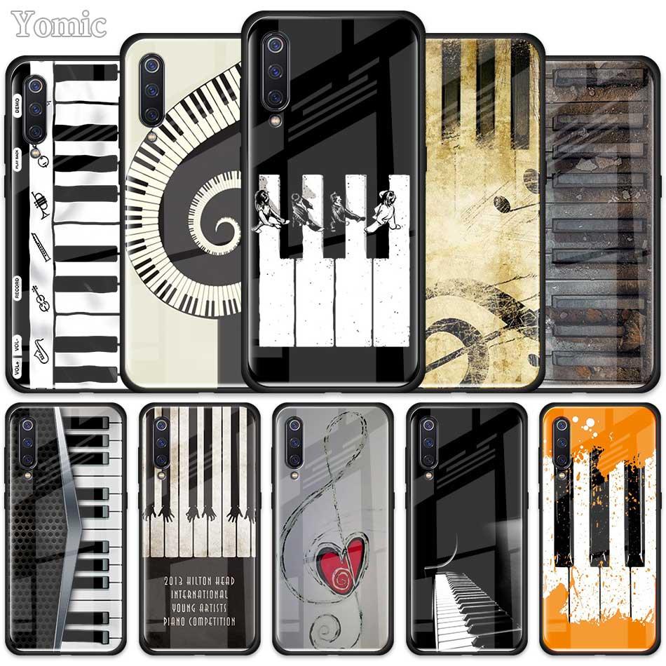 Funda de teléfono de cristal con Teclado de Piano musical para Xiaomi Redmi Mi Note A3 9T 10 Lite Youth 10X 9 9S 8 8T K30 K20 Pro K30i