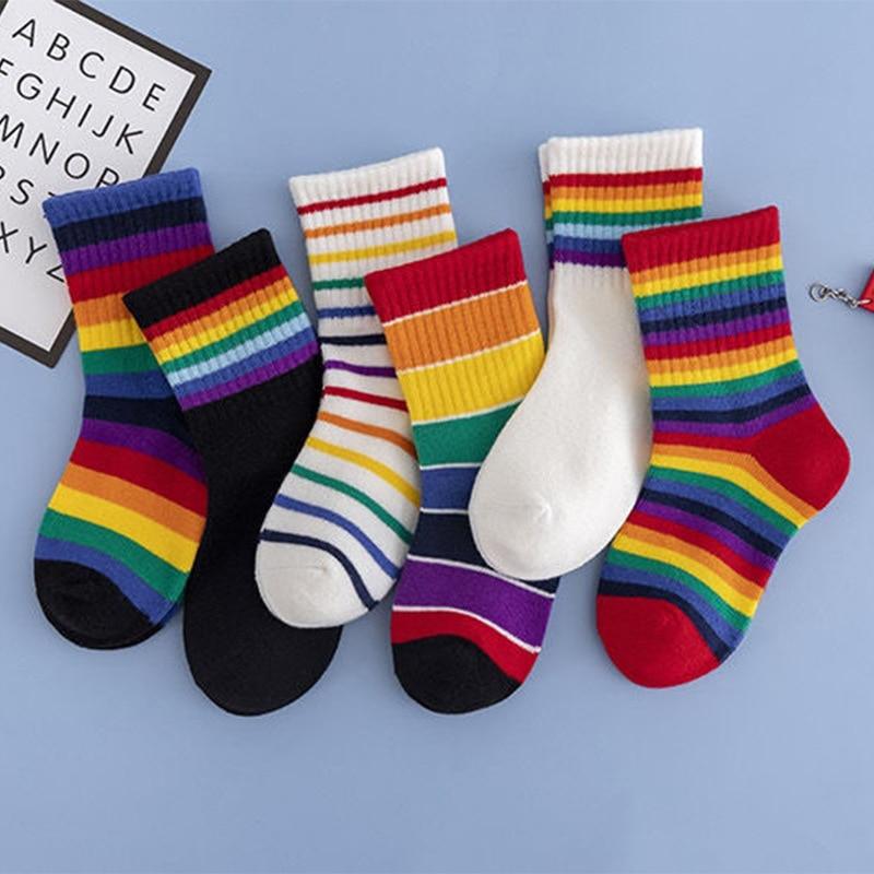 5 Pairs/lot Socks for Kids Rainbow Socks Candy Color Tube Socks Children Socks Children Boys Socks C
