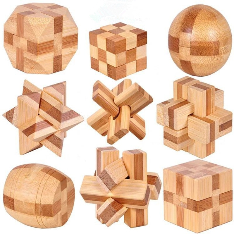 Cube Magic Ball Brain Teaser Intellectual Assembling Toy For Kids Gift Wooden 3D Puzzle Games Kong Ming Luban Lock Activity Toys