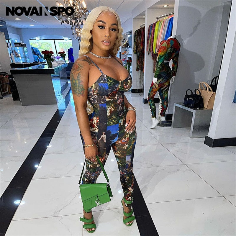 NOVAINSPO Printing Low Cut Bodycon Backless Camis Jumpsuit For Women Summer Fashion Skinny Sleeveless Outfits One Piece Casual novainspo paisley pattern cut out romeprs womens jumpsuits green skinny sporty baddie clothes summer backless jumpsuit fashion