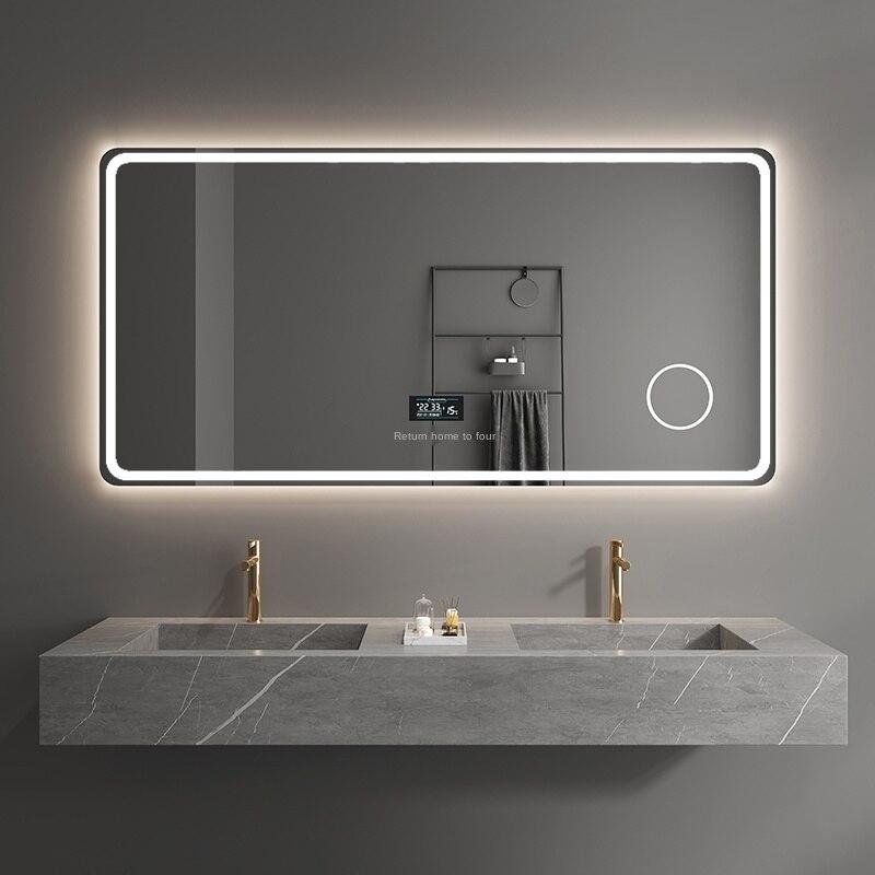 مرآة حمام ذكية مع شاشة تعمل باللمس ، ومرآة حمام ومرآة حمام مع إضاءة led معلقة على الحائط ومضادة للضباب