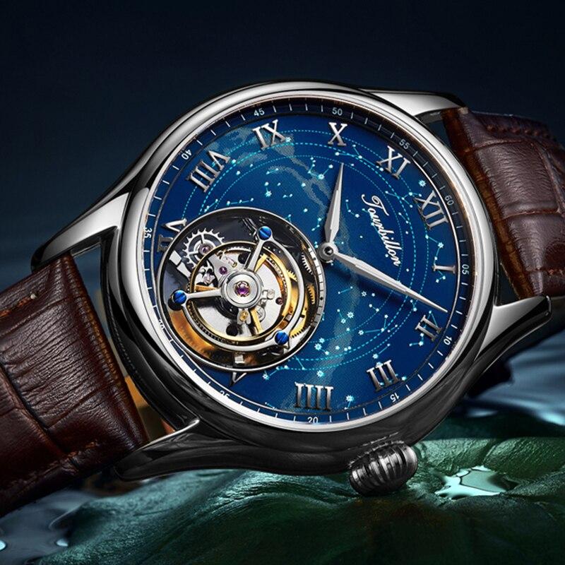 GIV Real Tourbillon Men Mechanical Wristwatches Skeleton Watch Watches for Men Mens Sapphire 2021 Ma