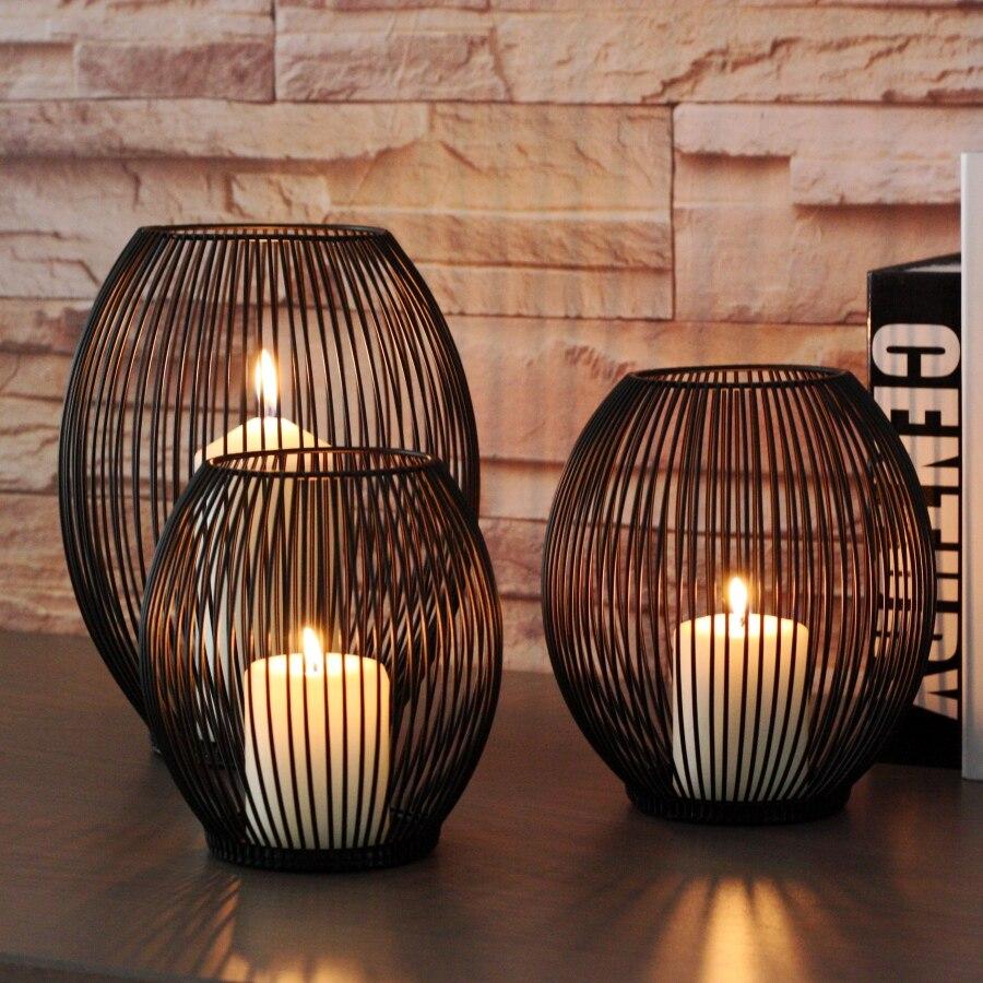 Candelabro negro minimalista con núcleo de Metal para bodas, candelabro hueco, diseño moderno, linterna colgante, regalo para decoración del hogar KK60ZT