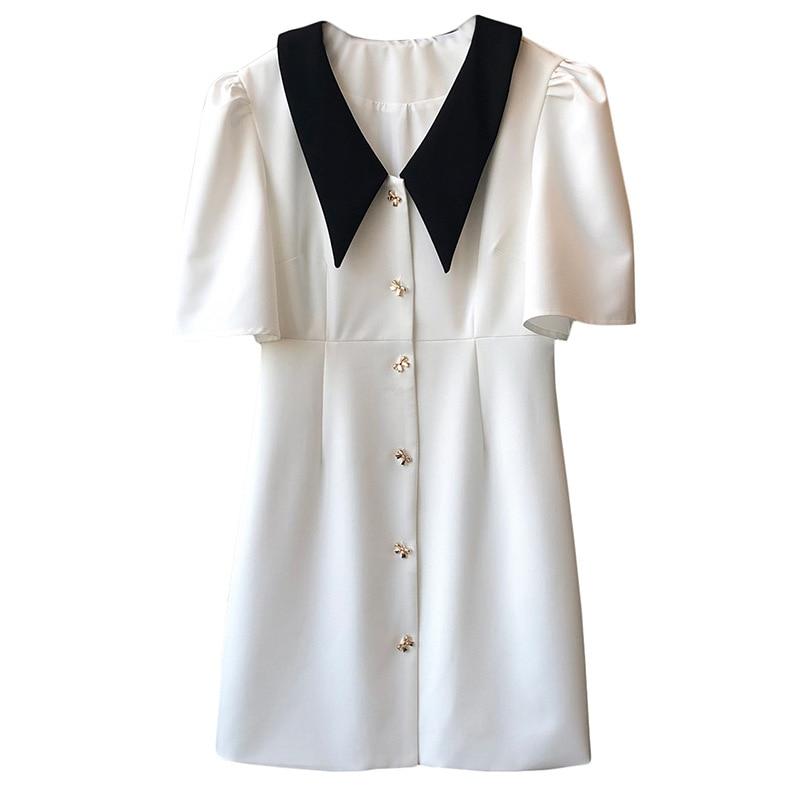 CMAZ zara woman peter pan collar loose style summer dress female new French sweet hubble-bubble sleeve short summer dress 7979#