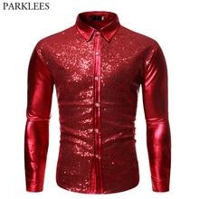 Männer Metallic Shiny Red Pailletten Disco Hemd 2019 Marke Langarm Hochzeit Party Glitter Shirts Dance Prom Clubwear Kostüm S-XL