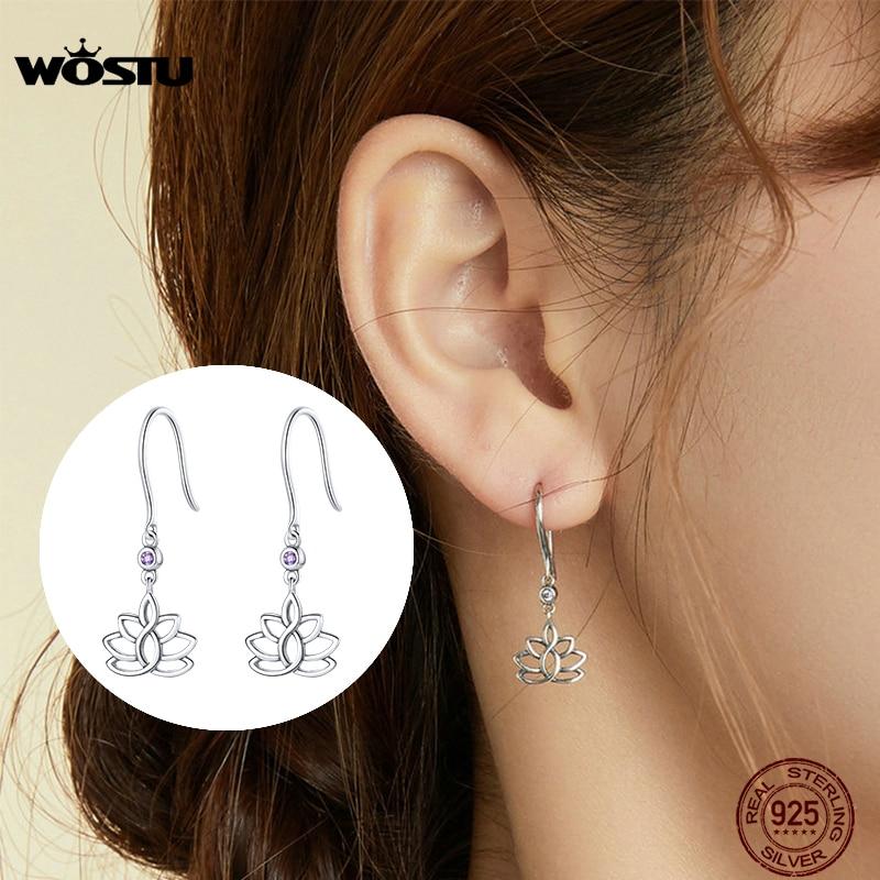 Wostu lotus flor brincos de gota 925 prata esterlina brilhante zircão moda balançar brincos para mulher jóias originais cte451