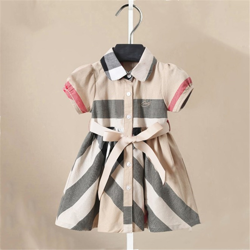 dresses mayoral 10686388 casual dress with short sleeves for girls Dress for Girls Big Bow Girls Dress Short Sleeve Casual Plaid Dress Girl 2020 Summer Kids Dresses for Girls1-6T