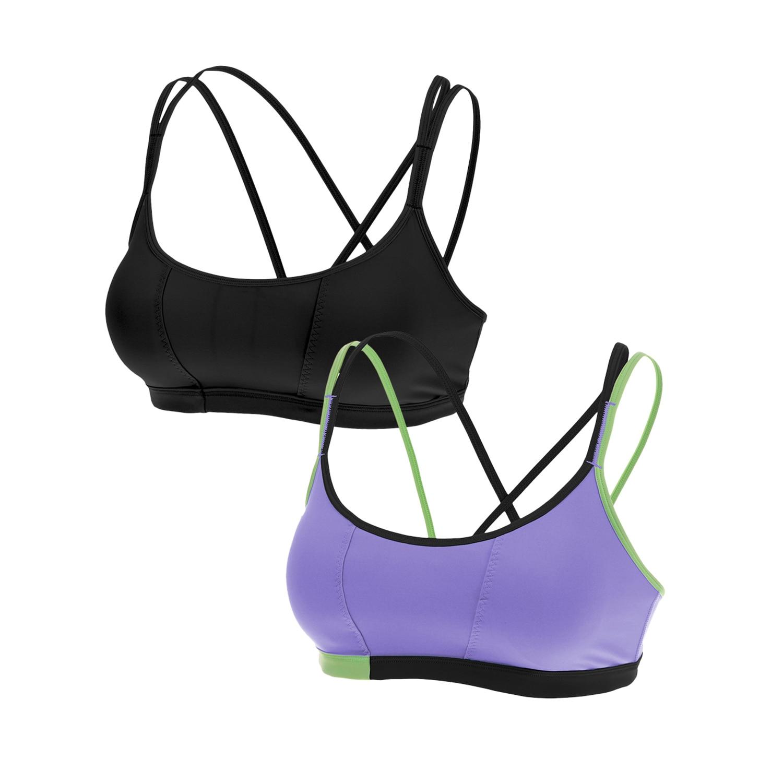(Paquete de 2 piezas) Sujetador deportivo de yoga cruzado con tiras acolchado de aspecto fresco para mujer