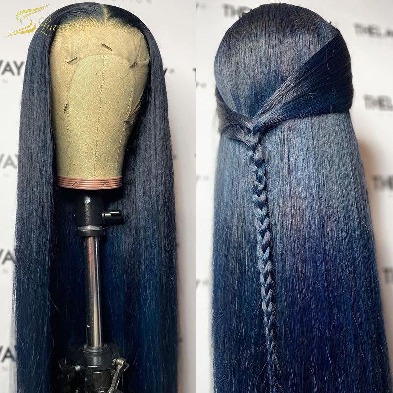 أزرق داكن ملون مستقيم الدانتيل شعر مستعار أمامي HD شفاف 13x4 13x6 HD الدانتيل الباروكة أمامي شفاف preplucted 30 بوصة كامل 360