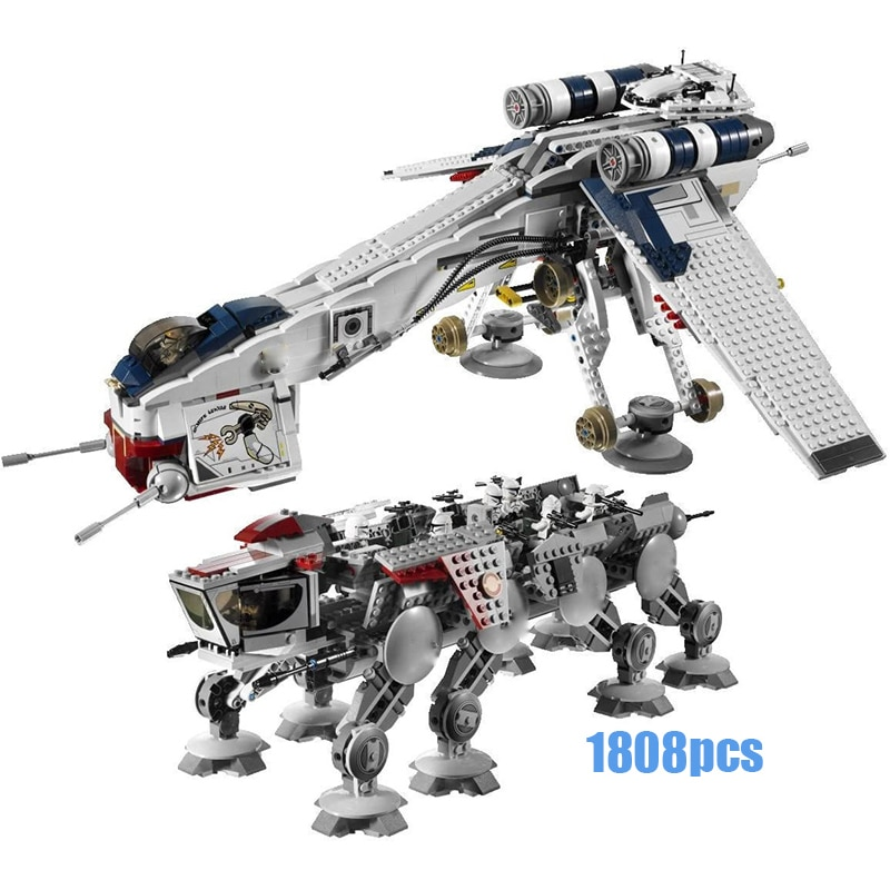 1808pcs New Genuine Series The Republic W Gunship Set Educational Building Blocks Bricks Kids Toys For Children Gifts