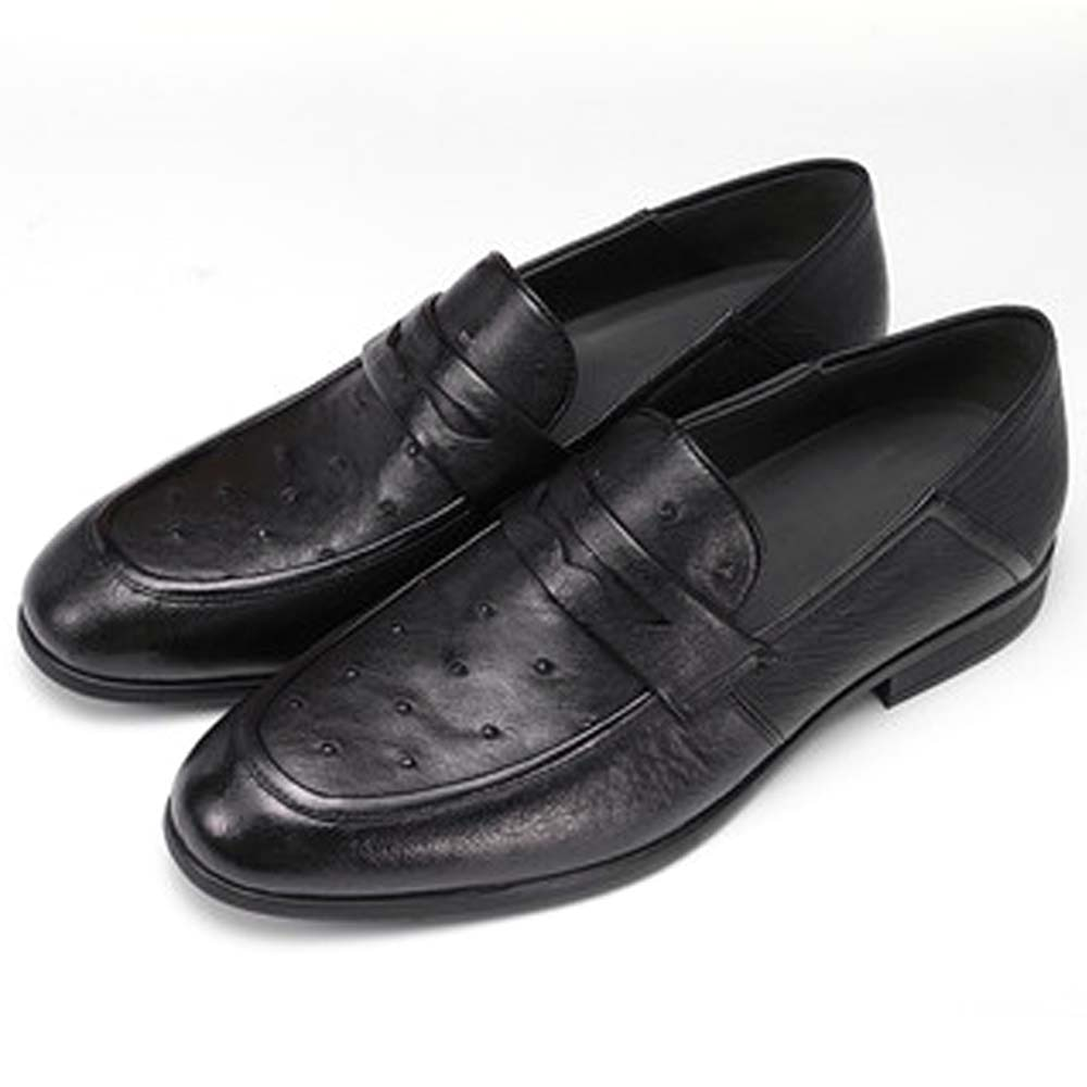 piliyuan male  Ostrich leather  Leather shoes  male  business  Casual shoes leather  male  Set foot  British  Men's shoes