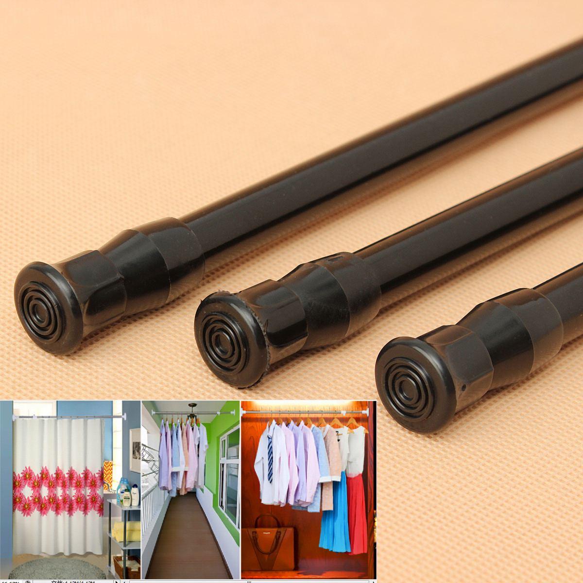 Barra de resorte ajustable extensible negra, barra de tensión telescópica para cortina de ventana, Barra de ducha, armario, productos de baño
