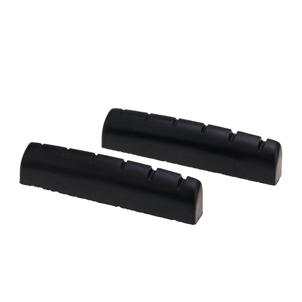 Musiclily Pro Urea Resin Plastic Slotted 43mm Guitar Nuts Flat Bottom for 6 String Les Paul or Acoustic Guitar, Black (Set of 2)